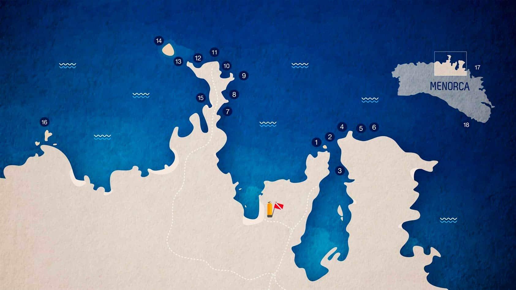Mapa inmersiones Diving Menorca